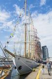 Bateaux grands amarrés à Gdynia Image libre de droits