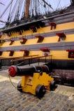 Bateaux historiques MU de Portsmouth de navire amiral de nelsons de victoire de hms de canon Photo stock