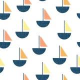 Bateaux sans couture de modèle de vecteur Voiliers de texture d'impression d'écran de cru bleus, orange, jaune de corail sur le f illustration stock