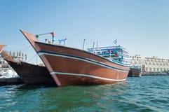Bateaux sur Dubai Creek photographie stock libre de droits