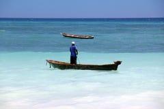 Bateaux sur l'Océan Indien outre de Nungwi Images libres de droits