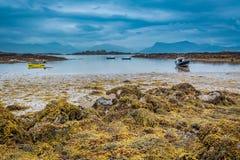 Bateaux sur la côte à marée basse en Ecosse Photos libres de droits