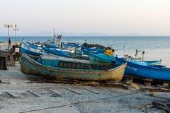 Bateaux sur la plage Photo libre de droits
