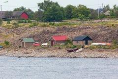 Bateaux sur la plage Images libres de droits