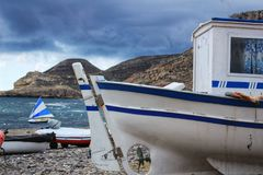 Bateaux sur la plage dans Cabo De Gata, Almeria Photo stock