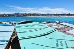 Bateaux sur la plage de Bondi Photographie stock