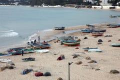 Bateaux sur la plage Hammamet Photographie stock