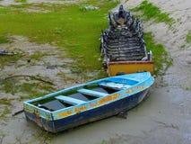 Bateaux sur la plage, Kerala, Inde Images stock