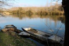 Bateaux sur le fleuve Image libre de droits