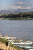 Bateaux sur le fleuve de Mekong Photographie stock
