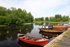 Bateaux sur le lac Images stock