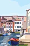 Bateaux sur le rivage à Venise Vieille lagune scénique d'Italien de rues Illustration de vecteur illustration de vecteur
