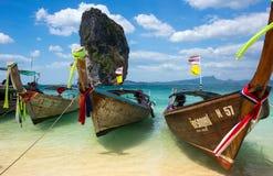 Bateaux thaïlandais traditionnels de longue queue Images stock