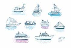 Bateaux tirés par la main de griffonnage réglés Collection colorée d'illustrations illustration stock
