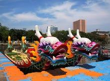 Bateaux traditionnels de dragon dans Taiwan Photos libres de droits