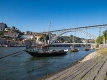 Bateaux traditionnels de Rabelo sur la rivière Douro, Porto, Portugal photo libre de droits