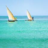 Bateaux Zanzibar typique de Ngalawa photo libre de droits