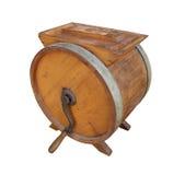Batedeira de manteiga aluída de madeira velha isolada imagens de stock royalty free