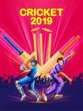 Batedor e jogador que jogam os esportes 2019 do campeonato do grilo ilustração royalty free