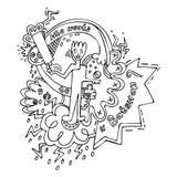 Batedor que joga a ilustração do vetor da garatuja do grilo ilustração stock