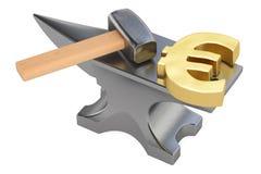 Batente com euro- símbolo do ouro, rendição 3D Imagens de Stock Royalty Free