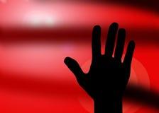 Batente da silhueta da mão Foto de Stock