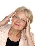 Batente dos enrugamentos - retrato da mulher mais idosa Fotos de Stock Royalty Free