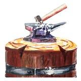 Batente e martelo grandes do ferreiro do ferro em uma base de um bloco velho de madeira watercolor Isolado ilustração royalty free