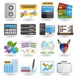 Batería, asunto, finanzas e iconos de la oficina