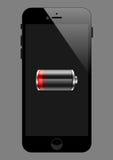 Batería baja de Smartphone Imágenes de archivo libres de regalías