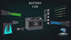 Batería de coche, fondo de alta tecnología del concepto del fi del sci futurista stock de ilustración