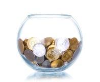 Batería de cristal para las extremidades con el dinero Imágenes de archivo libres de regalías