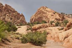 Batería de río desecada en el desierto Foto de archivo libre de regalías