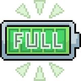 Batería del arte del pixel del vector por completo stock de ilustración