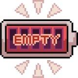 Batería del arte del pixel del vector vacía stock de ilustración