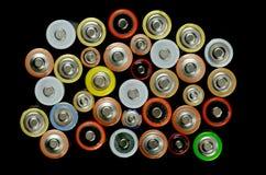 Batería en un fondo negro Imagen de archivo