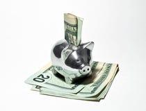 Batería guarra y dinero de plata Foto de archivo