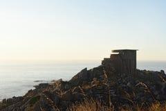 Batería militar vieja en Cabo Silleiro, Pontevedra foto de archivo libre de regalías