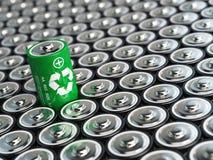 Batería que recicla concepto Energía verde, fondo de battaries Fotos de archivo