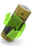 Batería que recicla el concepto - 3D Fotografía de archivo libre de regalías