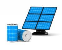 Batería solar en el fondo blanco Ejemplo aislado 3d Fotos de archivo