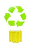 Baterías con el reciclaje de símbolo Imagen de archivo