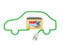 Baterías de automóvil con un cordón eléctrico Imagen de archivo libre de regalías