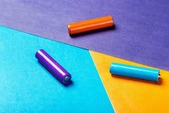 Baterías de diverso color Imagen de archivo libre de regalías
