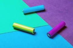 Baterías de diverso color Imagenes de archivo