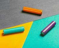 Baterías de diverso color Fotografía de archivo libre de regalías