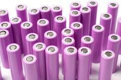 Baterías del tamaño de la ión de litio 18650 Foto de archivo libre de regalías