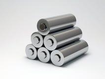 Baterías en un fondo blanco Imagen de archivo libre de regalías