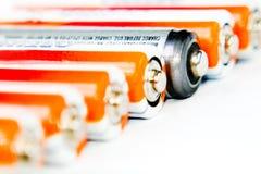 Baterías en una fila Foto de archivo libre de regalías