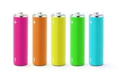 Baterías multicoloras de la talla del AA Foto de archivo libre de regalías